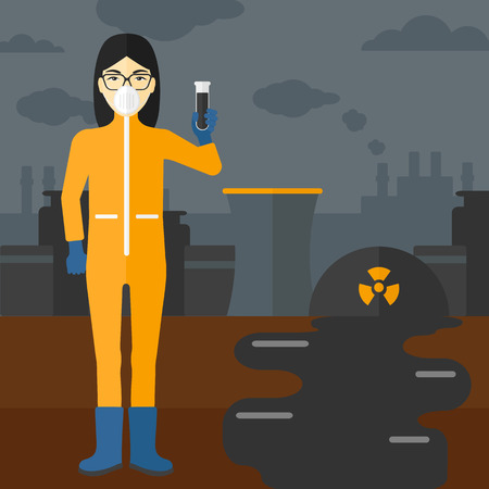 radiation suit: An asian laboratory assistant in protective chemical suit holding a test-tube in hand on background of nuclear power plant vector flat design illustration. Square layout. Illustration