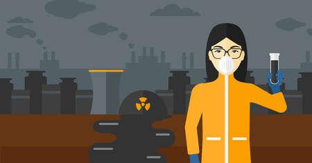 testtube: An asian laboratory assistant in protective chemical suit holding a test-tube in hand on background of nuclear power plant vector flat design illustration. Horizontal layout. Illustration