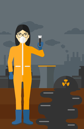 radiation protection suit: An asian laboratory assistant in protective chemical suit holding a test-tube in hand on background of nuclear power plant vector flat design illustration. Vertical layout.