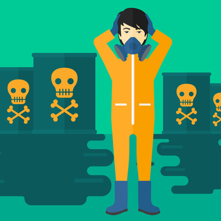 radiation suit: An asian man in protective chemical suit clutching his head while standing in polluted water with radioactive barrel vector flat design illustration. Square layout.
