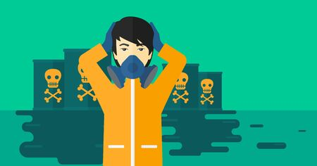 An asian man in protective chemical suit clutching his head while standing in polluted water with radioactive barrel vector flat design illustration. Horizpntal layout.