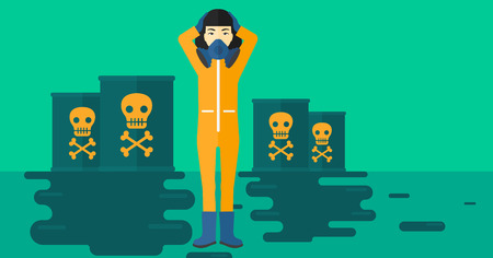 hazardous waste: An asian woman in protective chemical suit clutching her head while standing in polluted water with radioactive barrel vector flat design illustration. Horizontal layout.