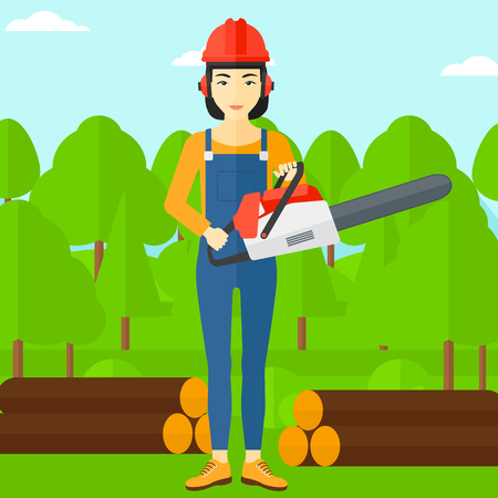 logger: An asian lumberjack holding a chainsaw on a forest background vector flat design illustration. Square layout. Illustration