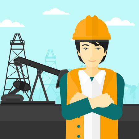 crossed arms: An asian man in helmet standing with crossed arms on an oil derrick background vector flat design illustration. Square layout.