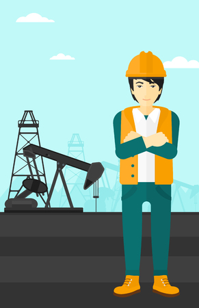 crossed arms: An asian man in helmet standing with crossed arms on an oil derrick background vector flat design illustration. Vertical layout. Illustration