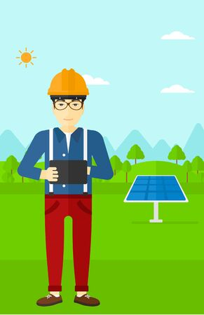 e book device: An asian man in hardhat holding a tablet computer in hands on a background with solar pannels vector flat design illustration. Vertical layout. Illustration