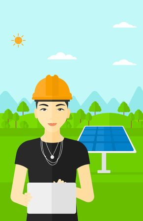 An asian woman in hardhat holding a tablet computer in hands on a background with solar pannels vector flat design illustration. Vertical layout.
