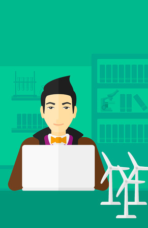 asian man laptop: An asian man sitting at the table with a laptop and wind turbine models vector flat design illustration. Vertical layout. Illustration