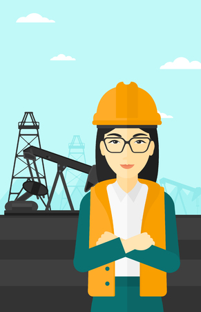 crossed arms: An asian woman in helmet standing with crossed arms on an oil derrick background vector flat design illustration. Vertical layout.