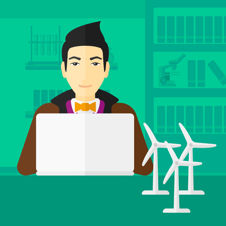 asian man laptop: An asian man sitting at the table with a laptop and wind turbine models vector flat design illustration. Square layout. Illustration