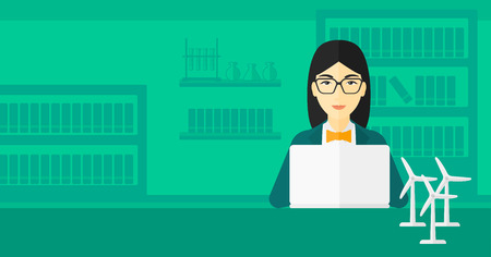 An asian woman sitting at the table with a laptop and wind turbine models vector flat design illustration. Horizontal layout.