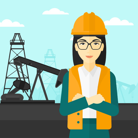 exhaustion: An asian woman in helmet standing with crossed arms on an oil derrick background vector flat design illustration. Square layout.