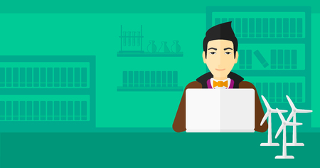 asian man laptop: An asian man sitting at the table with a laptop and wind turbine models vector flat design illustration. Horizontal layout.