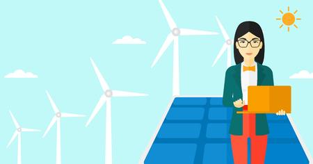 Una mujer asiática sosteniendo un ordenador portátil en las manos sobre un fondo con paneles solares y el viento turbins ilustración vectorial diseño plano. disposición horizontal. Ilustración de vector