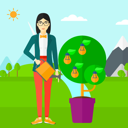 watering pot: An asian woman standing on a background with mountain and watering a tree growing in pot with light bulbs instead flowers vector flat design illustration. Square layout. Illustration