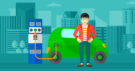 plugging: An asian man charging his electric car on a city background vector flat design illustration. Horizontal layout.