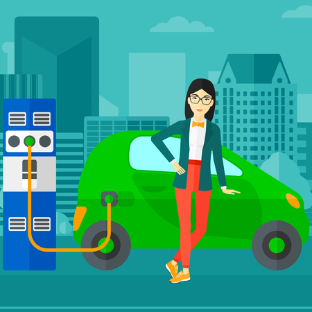 plugging: An asian woman charging her electric car on a city background vector flat design illustration. Square layout.