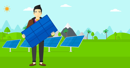 asian cartoon: An asian man holding a solar panel in hands on a background with solar panels vector flat design illustration. Horizontal layout.