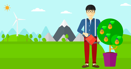watering pot: An asian man standing on a background with mountain and watering a tree growing in pot with light bulbs instead flowers vector flat design illustration. Horizontal layout.