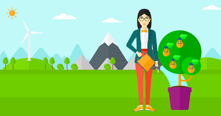 save environment: An asian woman standing on a background with mountain and watering a tree growing in pot with light bulbs instead flowers vector flat design illustration. Horizontal layout.