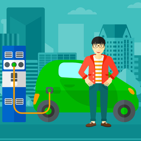 plugging: An asian man charging his electric car on a city background vector flat design illustration. Square layout.