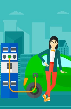 plugging: An asian woman charging her electric car on a city background vector flat design illustration. Vertical layout. Illustration