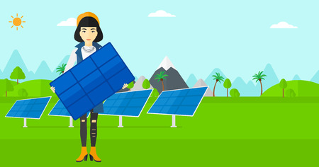save environment: An asian woman holding a solar panel in hands on a background with solar panels vector flat design illustration. Horizontal layout. Illustration