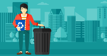 dumpster: An asian man standing with a recycle bin in hand and another bin on the ground on a city background vector flat design illustration. Horizontal layout.