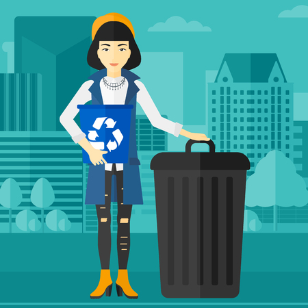 An asian woman standing with a recycle bin in hand and another bin on the ground on a city background vector flat design illustration. Square layout. Illustration