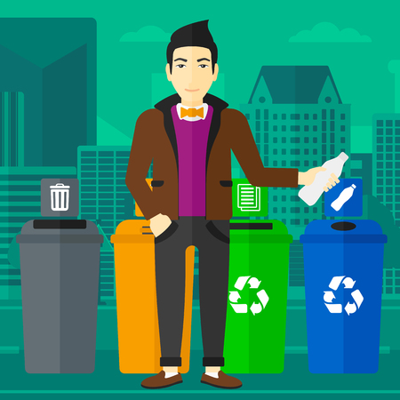 appropriate: An asian man standing near four bins and throwing a plastic bottle in an appropriate bin on a city background vector flat design illustration. Square layout.