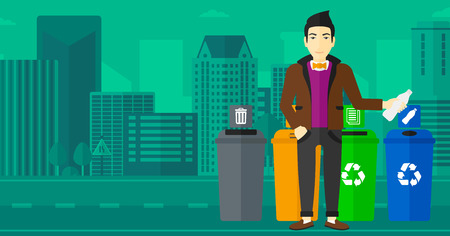 appropriate: An asian man standing near four bins and throwing a plastic bottle in an appropriate bin on a city background vector flat design illustration. Horizontal layout.
