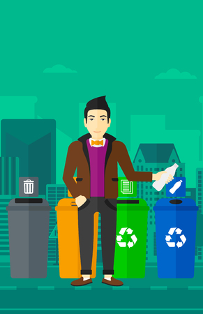 appropriate: An asian man standing near four bins and throwing a plastic bottle in an appropriate bin on a city background vector flat design illustration. Vertical layout. Illustration