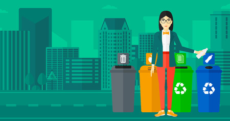 appropriate: An asian woman standing near four bins and throwing a plastic bottle in an appropriate bin on a city background vector flat design illustration. Horizontal layout.