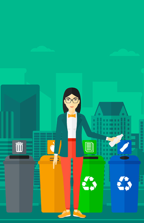 appropriate: An asian woman standing near four bins and throwing a plastic bottle in an appropriate bin on a city background vector flat design illustration. Vertical layout.