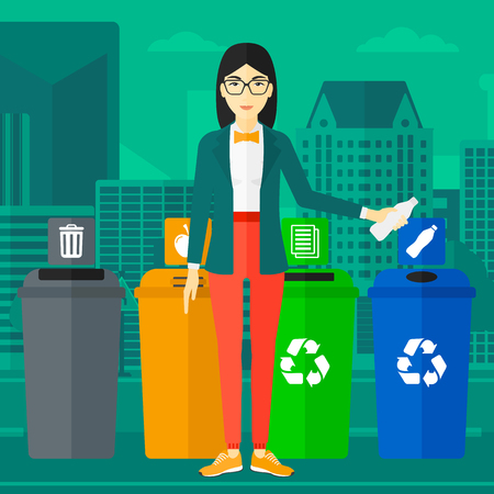 An asian woman standing near four bins and throwing a plastic bottle in an appropriate bin on a city background vector flat design illustration. Square layout.