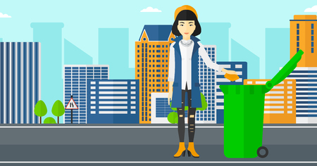 woman throwing: An asian woman throwing a trash into a green bin on a city background vector flat design illustration. Horizontal layout.
