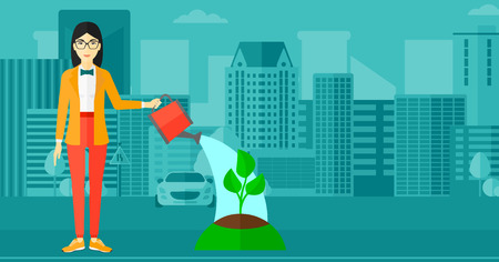 An asian woman watering a tree on a city background vector flat design illustration. Horizontal layout.