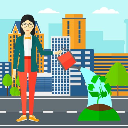 An asian woman watering a tree with a recycle sign instead of crown on a city backround vector flat design illustration. Square layout.