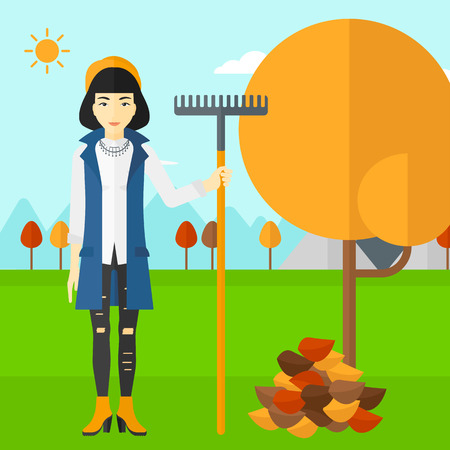 autumn woman: An asian woman with rake standing near tree and heap of autumn leaves vector flat design illustration. Square layout.