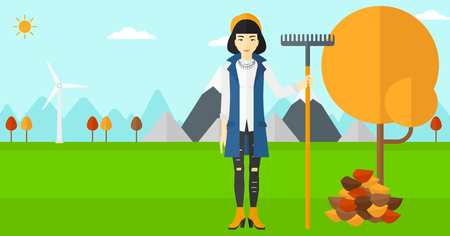 autumn woman: An asian woman with rake standing near tree and heap of autumn leaves vector flat design illustration. Horizontal layout. Illustration