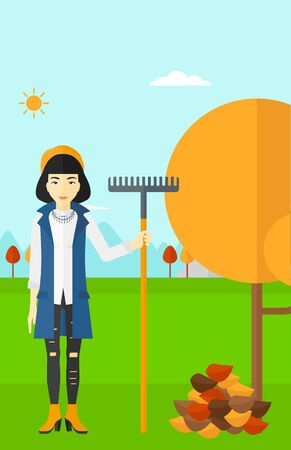 An asian woman with rake standing near tree and heap of autumn leaves vector flat design illustration. Vertical layout.