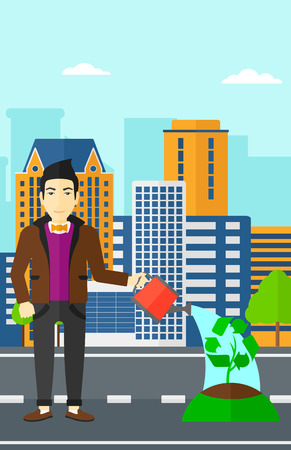 An asian man watering a tree with a recycle sign instead of crown on a city backround vector flat design illustration. Vertical layout.