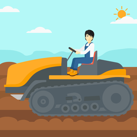 plowed: An asian man driving a tractor on a background of plowed agricultural field vector flat design illustration. Square layout.