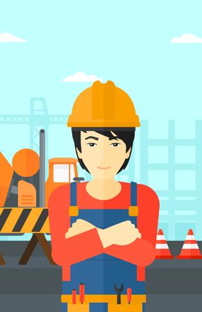 ingenieria industrial: Un hombre asiático de pie con los brazos cruzados sobre un fondo de obra de construcción de barreras de hormigón del mezclador y de la carretera Ilustración del vector del diseño plano. disposición vertical. Vectores
