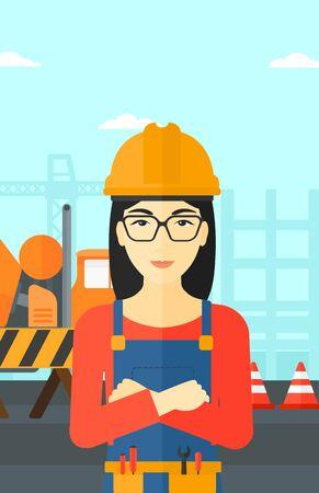 ingenieria industrial: Una mujer asiática de pie con los brazos cruzados sobre un fondo de obra de construcción de barreras de hormigón del mezclador y de la carretera Ilustración del vector del diseño plano. disposición vertical.