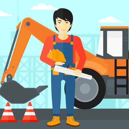 An asian man holding a hard hat and a twisted blueprint in hands on a background of construction site with excavator and traffic cones vector flat design illustration. Square layout.