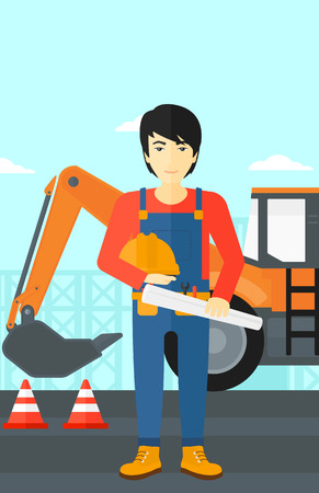 hard: An asian man holding a hard hat and a twisted blueprint in hands on a background of construction site with excavator and traffic cones vector flat design illustration. Vertical layout.
