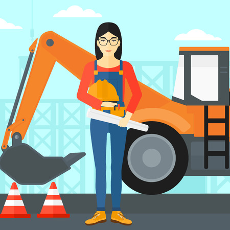 asian architect: An asian woman holding a hard hat and a twisted blueprint in hands on a background of construction site with excavator and traffic cones vector flat design illustration. Square layout. Illustration