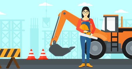 excavate: An asian woman holding a hard hat and a twisted blueprint in hands on a background of construction site with excavator and traffic cones vector flat design illustration. Horizontal layout. Illustration