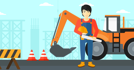An asian man holding a hard hat and a twisted blueprint in hands on a background of construction site with excavator and traffic cones vector flat design illustration. Horizontal layout.